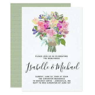 Blumenstrauß-Posten-Hochzeits-Brunch-Einladungen Karte
