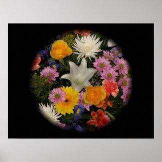 Blumenstrauß: Rosen, Mamas, Lilie, Iris, Dahlien Poster