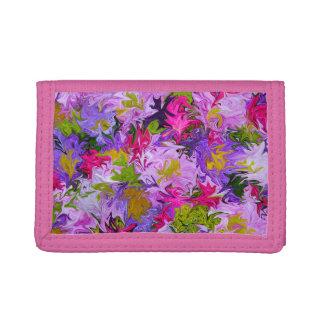 Blumenstrauß von Farben auf rosa Geldbörse
