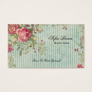 Blumenstreifenschönheit des eleganten Vintagen Visitenkarte