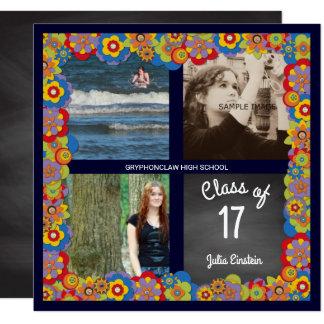 Blumentafel-Mädchen-Foto-Abschluss-Party Quadratische 13,3 Cm Einladungskarte