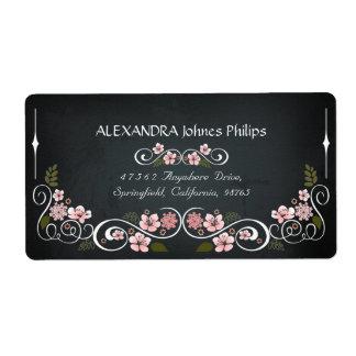 Blumentafel-Vintages mutiges Adressen-Etikett Großer Adressaufkleber