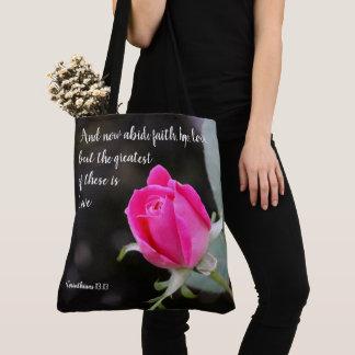 BlumenTasche, rosa Rose, mit Vers von den Tasche