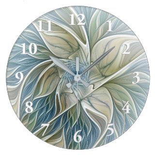 Blumentraummuster-abstraktes blaues kakifarbiges große wanduhr