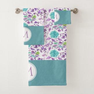 Blumentürkis-violettes Muster-Monogramm-Tuch-Set Badhandtuch Set