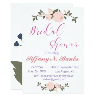 Blumentypographie-Brautpartyeinladung Karte