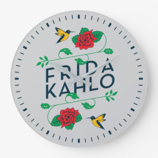 Blumentypographie Frida Kahlos   Große Wanduhr