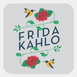 Blumentypographie Frida Kahlos   Quadratischer Aufkleber