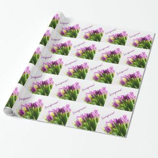 Blumenverpackungspapier der lila Tulpen Geschenkpapier