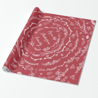 BlumenVolkskunst-Geweih-rotes Weihnachtsmuster Geschenkpapier
