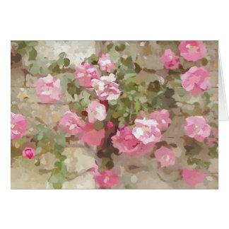 BlumenWasserfarbe-Effekt-rosa kletternde Rosen Karte