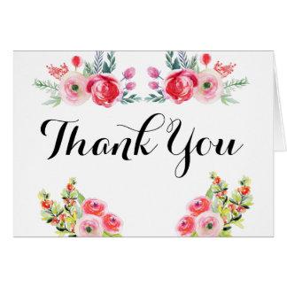 Blumenwatercolor-Brautparty danken Ihnen Karte