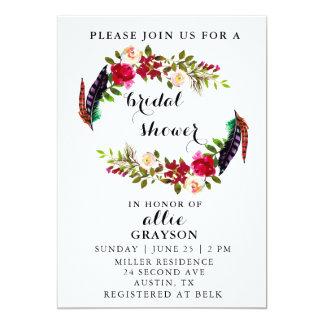 Blumenwatercolor-Brautparty-Einladung Karte