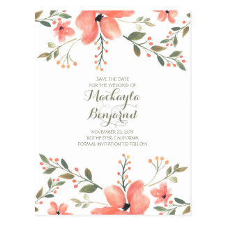 BlumenWatercolor elegant Save the Date Postkarte