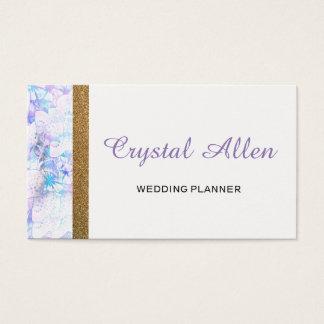 Blumenwatercolor-GoldGlitzer-Hochzeits-Planer Visitenkarte