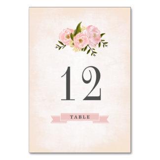 Blumenwatercolor-Wedding Tischnummer-Karten Karte
