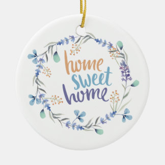 BlumenWatercolorwreath-Zuhause-Bonbon-Zuhause Keramik Ornament