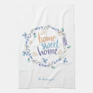 BlumenWatercolorwreath-Zuhause-Bonbon-Zuhause Küchentuch