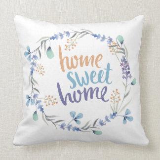 BlumenWatercolorwreath-Zuhause-süßes Zuhause-Blau Kissen