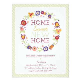Blumenwreath-Haus-Erwärmungs-Einladung 10,8 X 14 Cm Einladungskarte