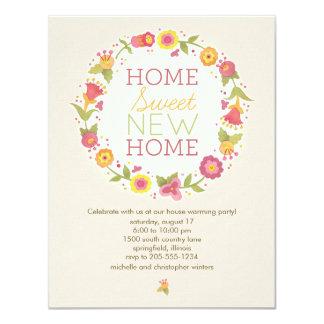 Blumenwreath-Haus-Erwärmungs-Party Einladungen