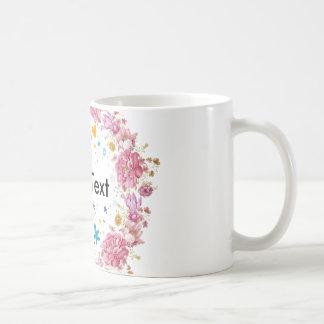 Blumenwreath-personalisierte Text-Schale Kaffeetasse