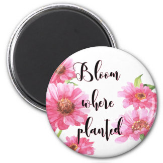 Blüte wo gepflanzter rosa Watercolor-Blumen-Magnet Runder Magnet 5,7 Cm