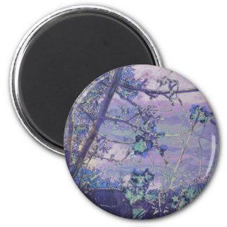 Blüten-abstraktes Veilchen Runder Magnet 5,7 Cm