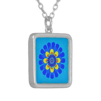 Blüten-Blau Versilberte Kette
