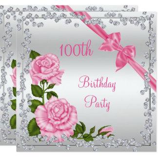 Blüten-Bögen u. Diamant-100. Geburtstag Quadratische 13,3 Cm Einladungskarte
