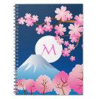 Blüten-Frühlings-Japan-Nacht Kirschblüte Mt Fuji Spiral Notizblock