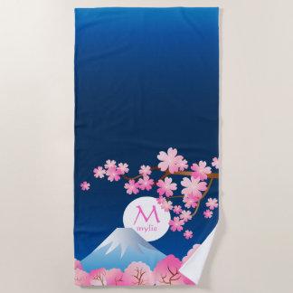 Blüten-Japaner-Kirschblüte-Monogramm Mt Fuji Strandtuch