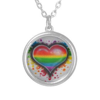 Bluten-Liebe-Regenbogen Neclace Halskette Mit Rundem Anhänger