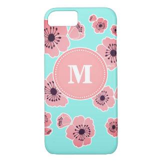 Blüten-Minze u. rosa kundenspezifischer Monogramm iPhone 8/7 Hülle
