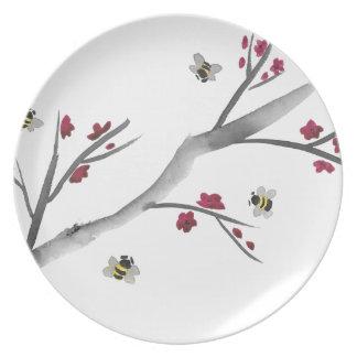 Blüten und Bienen Teller