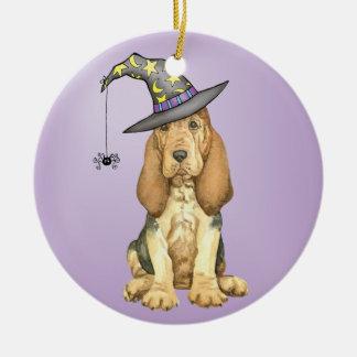Bluthund-Hexe Keramik Ornament
