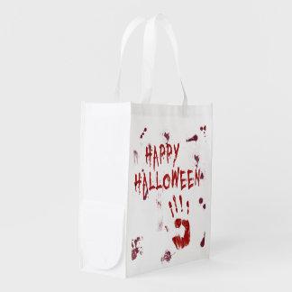 Blutiges Handprint Halloween - wiederverwendbare Wiederverwendbare Einkaufstasche
