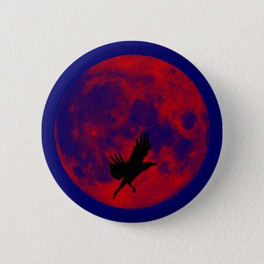 Blutmond Rabe blood moon raven Runder Button 5,1 Cm