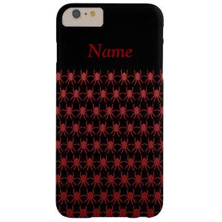 Blutrote Spinnen auf schwarzem individuellem Namen Barely There iPhone 6 Plus Hülle