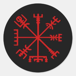 Blutrotes Vegvísir (Viking-Kompass) Runder Aufkleber