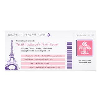Boarding-Durchlauf des Bonbon-16 nach Paris 10,2 X 23,5 Cm Einladungskarte