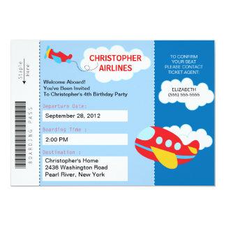 Boarding-Durchlauf-Flugzeug-Geburtstags-Party 12,7 X 17,8 Cm Einladungskarte