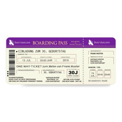 BOARDING PASS Flugticket Einladungskarte (lila) ...