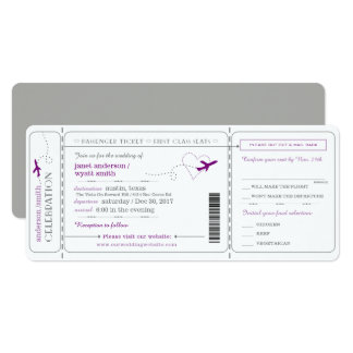 Boarding Pass Travel Ticket Wedding Invitation Karte