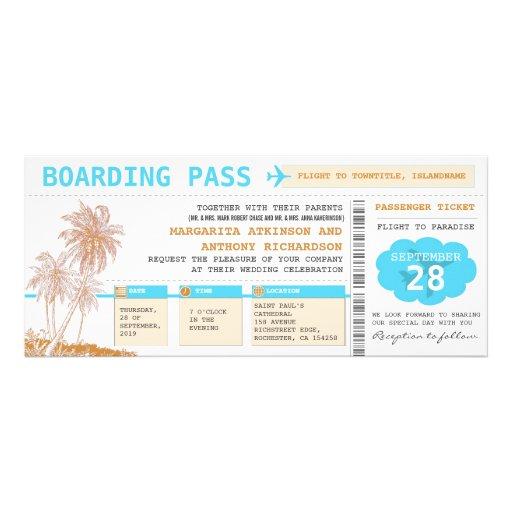 Boardingdurchlauf-Hochzeit in Urlaubsortskarten Individuelle Einladungskarte