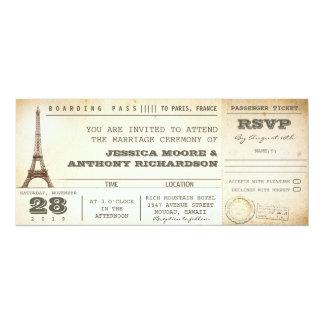 Boardingdurchlaufhochzeits-Karteneinladungen PARIS 10,2 X 23,5 Cm Einladungskarte