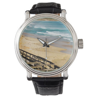 Boardwalk_To_Paradise_Mens_Big_Face_Leather_Watch. Uhr