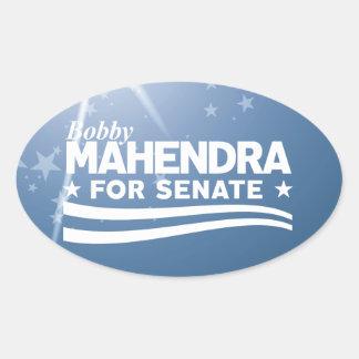 Bobby Mahendra für Senat Ovaler Aufkleber