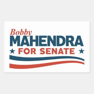 Bobby Mahendra für Senat Rechteckiger Aufkleber