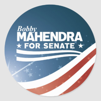 Bobby Mahendra für Senat Runder Aufkleber